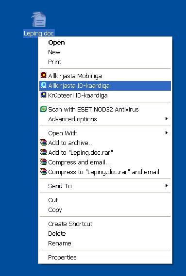 7a2be125cba Esimesel juhul vali Windowsi failihalduris välja failid, millele soovite  digiallkirja anda. Seejärel klõpsa nende peal paremat hiireklahvi ja vali  menüüst